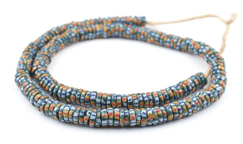 Teal Chevron-Style Aja Krobo Beads (11mm) - The Bead Chest