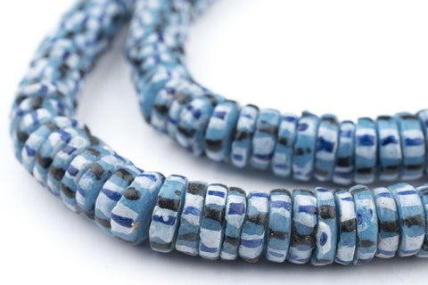 Blue Chevron-Style Aja Krobo Beads (11mm) - The Bead Chest