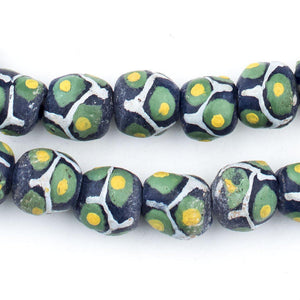 Gecko Green Round Millefiore-Style Krobo Beads - The Bead Chest