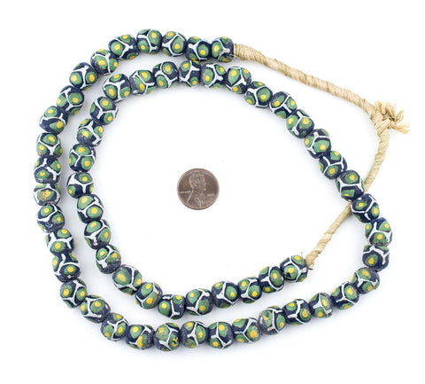 Image of Gecko Green Round Millefiore-Style Krobo Beads - The Bead Chest