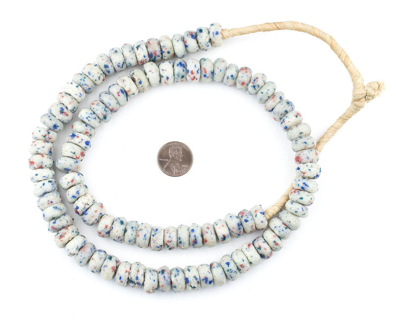 White Mosaic Rondelle Recycled Glass Beads (Rough) - The Bead Chest