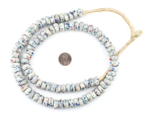Image of White Mosaic Rondelle Recycled Glass Beads (Rough) - The Bead Chest