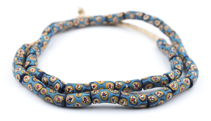 Blue Millefiori Krobo Beads - The Bead Chest