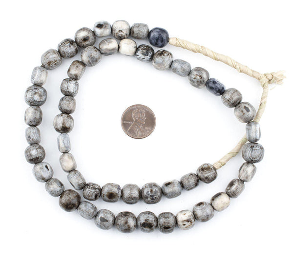 Rounded Grey Bone Beads (Small)
