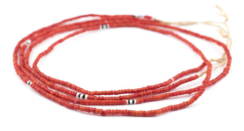 Vintage Red Glass Seed Beads (3mm) - The Bead Chest