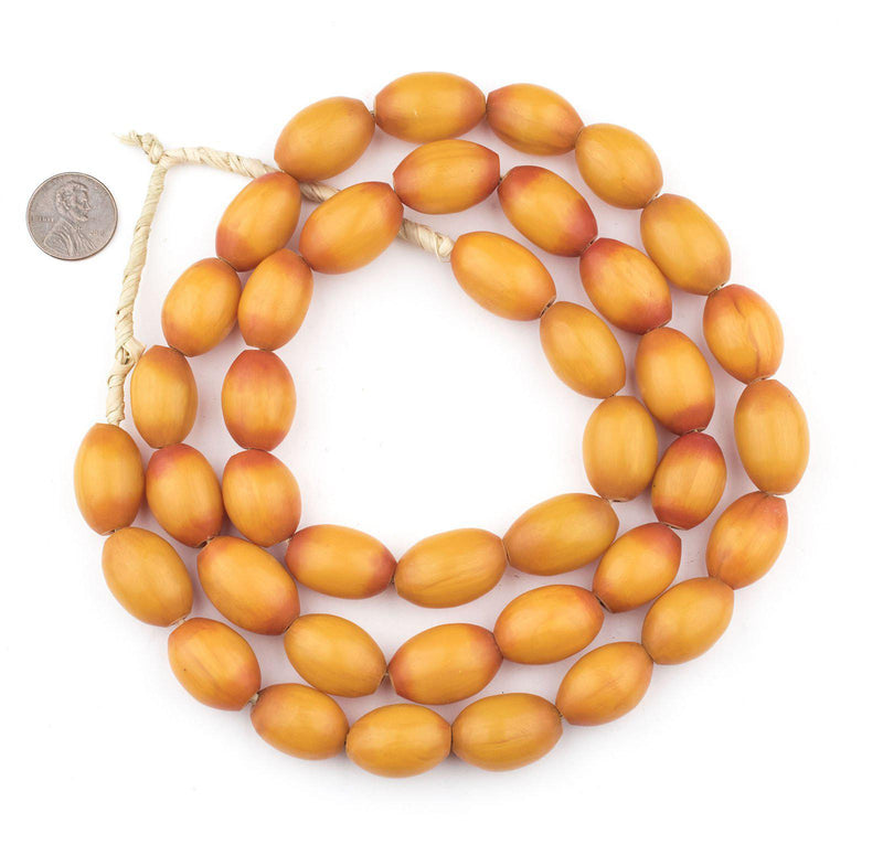 Sunrise Oval Kenya Amber Resin Beads (22x15mm) - The Bead Chest