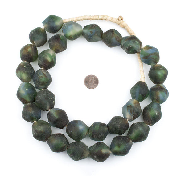 Jumbo Blue, Green, Brown & White Bicone Recycled Glass Beads (25mm)