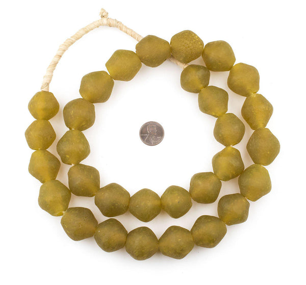 Jumbo Yellow Bicone Recycled Glass Beads (25mm)