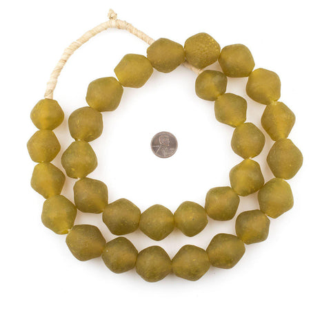 Jumbo Yellow Bicone Recycled Glass Beads (25mm) - The Bead Chest