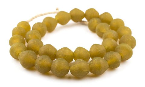 Image of Jumbo Yellow Bicone Recycled Glass Beads (25mm) - The Bead Chest