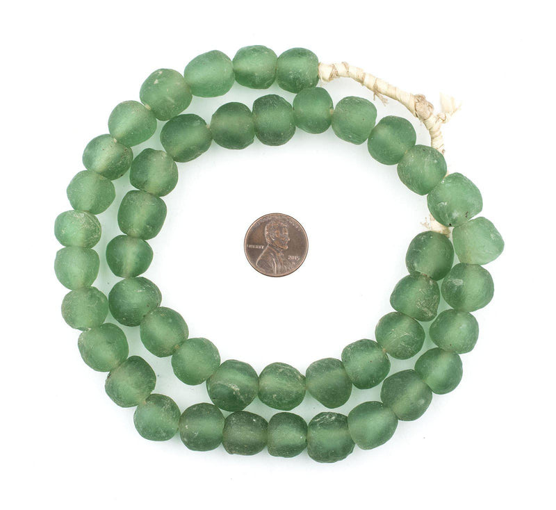 Sea Green Recycled Glass Beads (14mm) - The Bead Chest