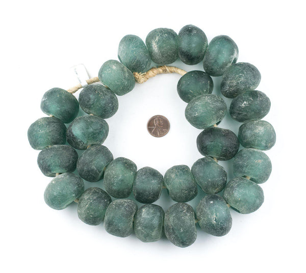 Super Jumbo Deep Aqua Recycled Glass Beads (34mm)