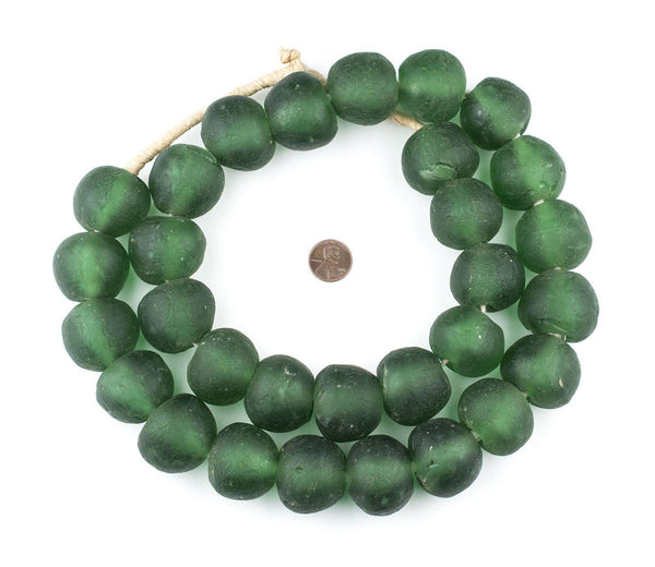 Super Jumbo Light Green Recycled Glass Beads (32mm)