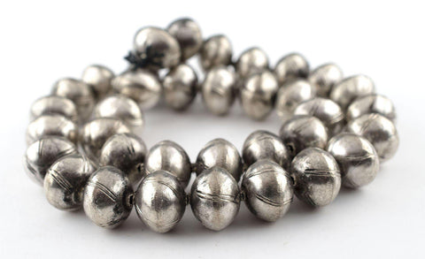 Round Striped Ethiopian Hollow Silver Beads - The Bead Chest