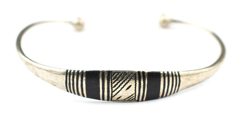 Image of Decorated Tuareg Silver Cuff Bracelet - The Bead Chest
