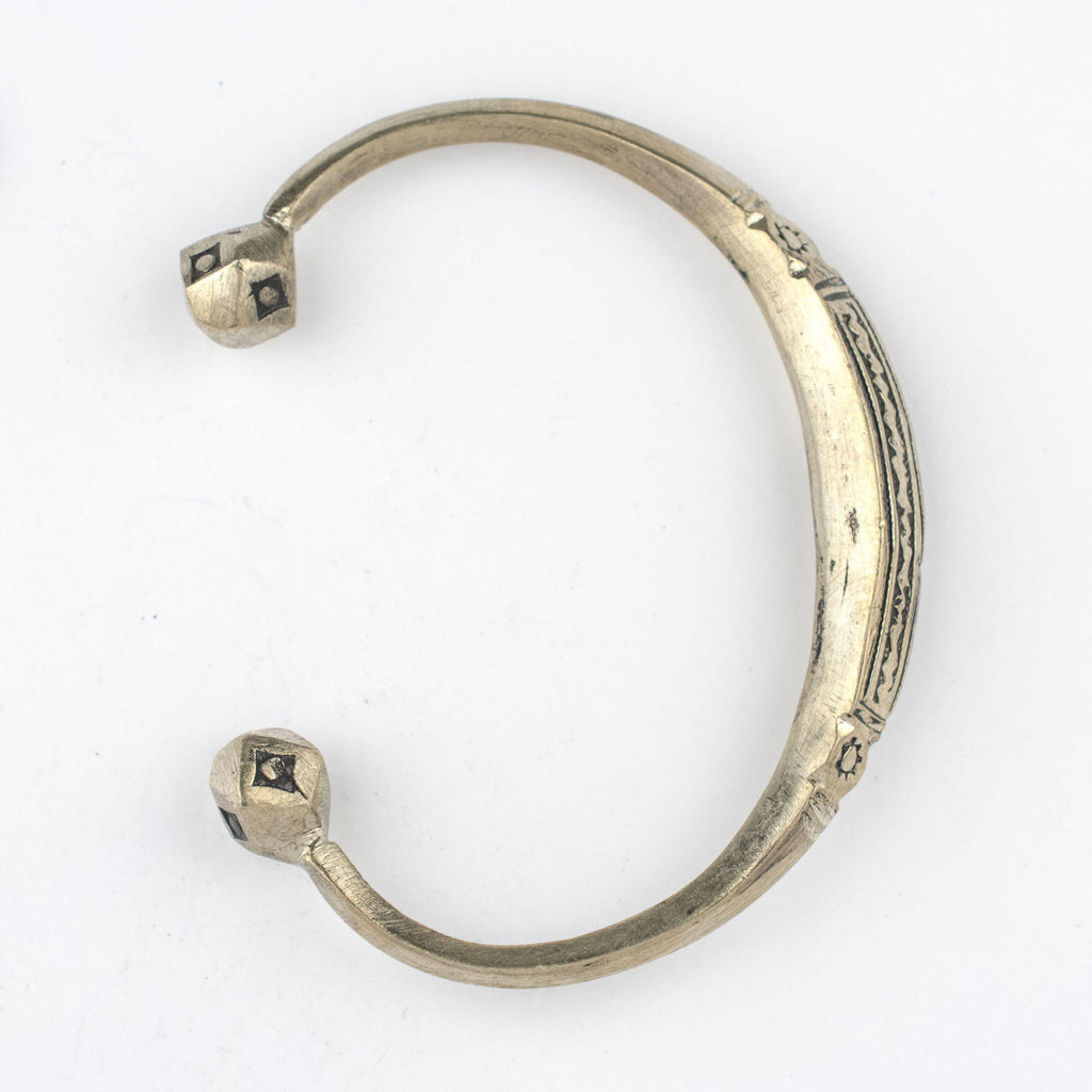 Engraved Tuareg Brass Cuff Bracelet - The Bead Chest
