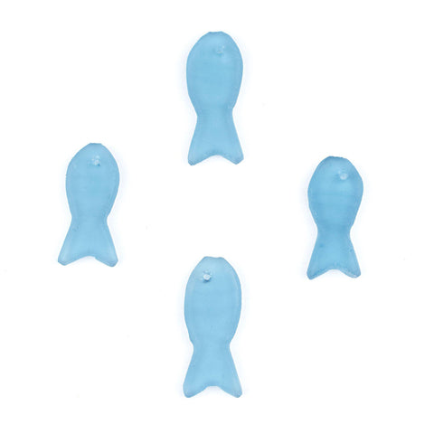 Light Blue Sea Glass Fish Pendants (Set of 4) - The Bead Chest