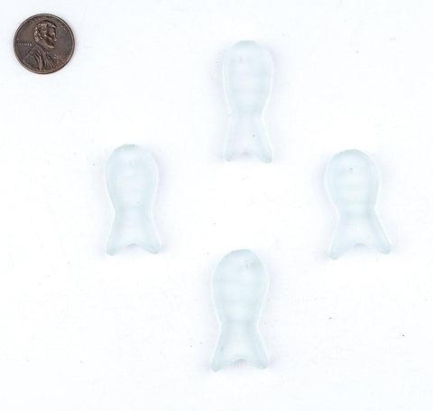 Clear Sea Glass Fish Pendants (Set of 4) - The Bead Chest