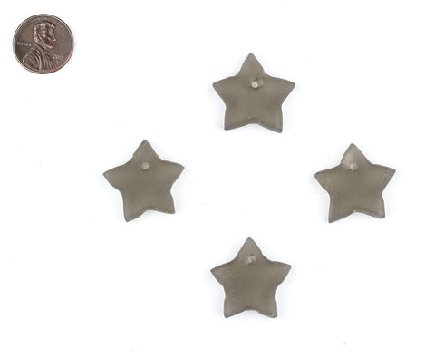 Grey Sea Glass Star Pendants (Set of 4) - The Bead Chest
