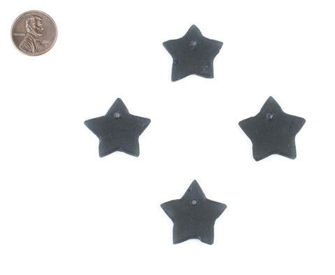 Black Sea Glass Star Pendants (Set of 4) - The Bead Chest