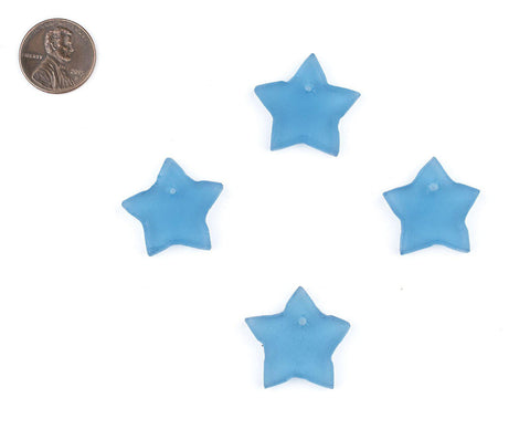 Light Blue Sea Glass Star Pendants (Set of 4) - The Bead Chest