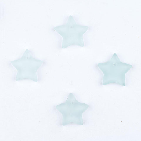 Clear Sea Glass Star Pendants (Set of 4) - The Bead Chest