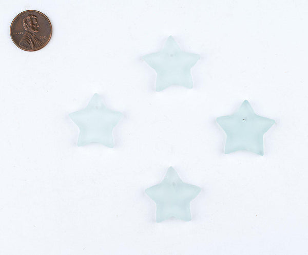 Clear Sea Glass Star Pendants (Set of 4)