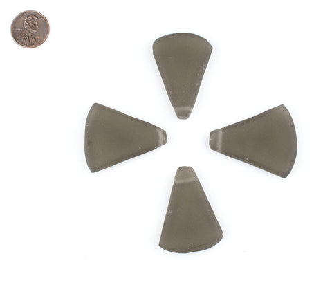 Grey Triangle Sea Glass Pendants (Set of 4) - The Bead Chest