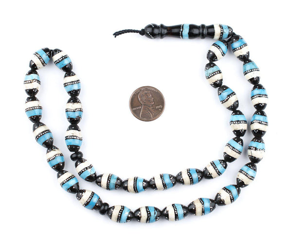 Silver & Turquoise Inlaid Black Coral Arabian Prayer Beads