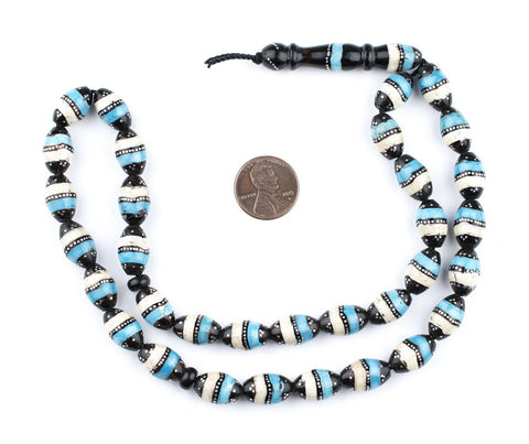 Silver & Turquoise Inlaid Black Coral Arabian Prayer Beads - The Bead Chest