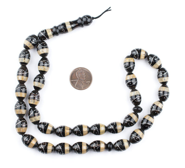 Sand & Silver Inlaid Black Coral Arabian Prayer Beads