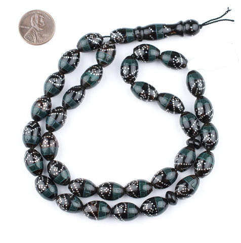 Serpentine Green & Silver Inlaid Black Coral Arabian Prayer Beads - The Bead Chest