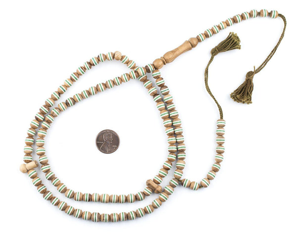 Green Stripe Inlaid Olive Wood Arabian Prayer Beads (7mm)