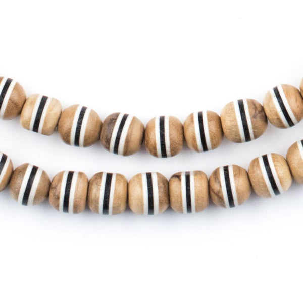 Black Stripe Inlaid Olive Wood Arabian Prayer Beads (6mm) - The Bead Chest