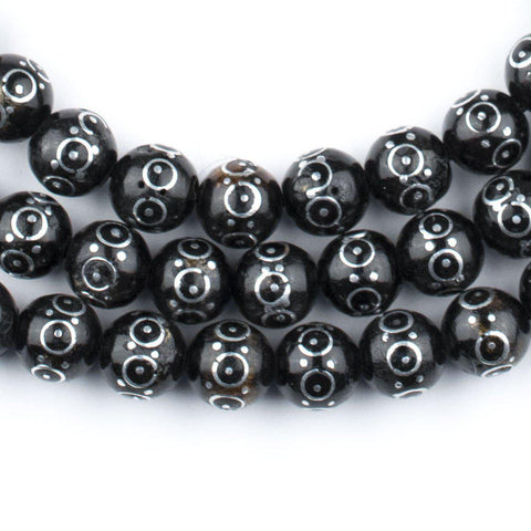 Round Eye Silver Inlaid Black Coral Arabian Prayer Beads (8mm) - The Bead Chest