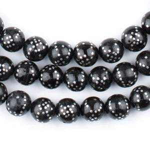 Round Dotted Silver Inlaid Black Coral Arabian Prayer Beads (8mm) - The Bead Chest