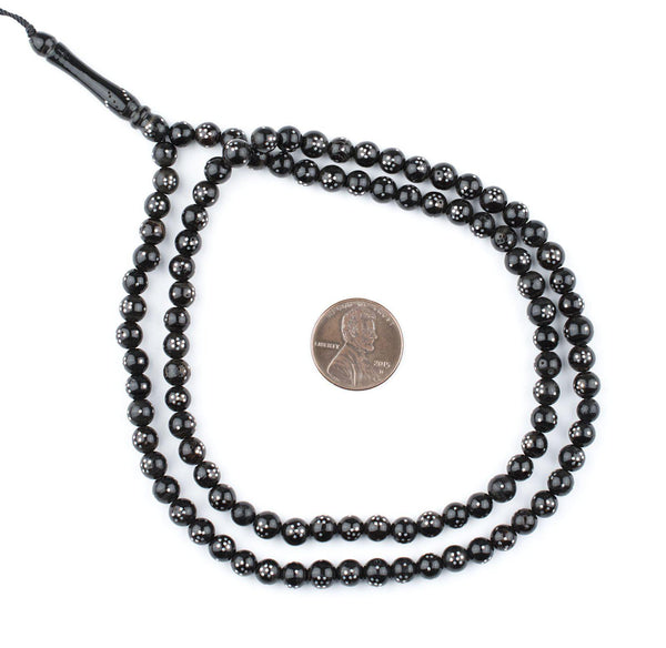 Round Silver Inlaid Black Coral Arabian Prayer Beads (6mm)