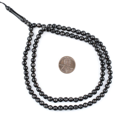 Round Silver Inlaid Black Coral Arabian Prayer Beads (6mm) - The Bead Chest