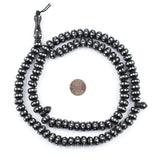 Silver Inlaid Ebony Disk Arabian Prayer Beads (11mm)