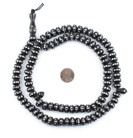 Image of Silver Inlaid Ebony Disk Arabian Prayer Beads (11mm) - The Bead Chest