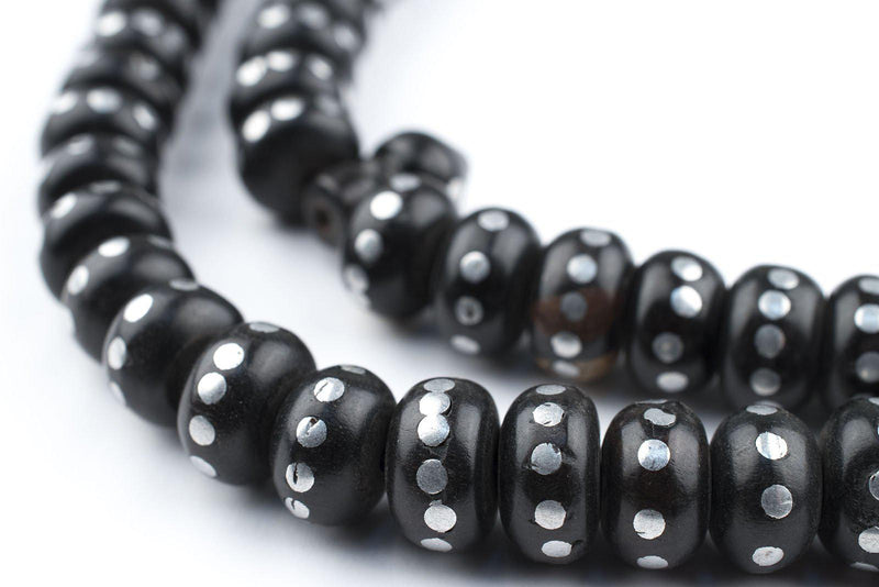 Silver Inlaid Ebony Disk Arabian Prayer Beads (11mm) - The Bead Chest