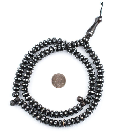 Image of Silver Inlaid Ebony Disk Arabian Prayer Beads (9mm) - The Bead Chest