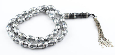Silver Coated Inlaid Arabian Prayer Beads - The Bead Chest