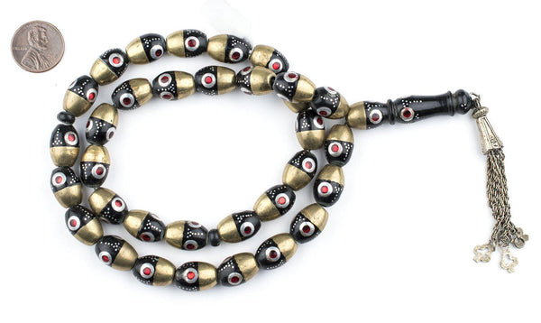 Red Evil Eye Brass Inlaid Ebony Arabian Prayer Beads