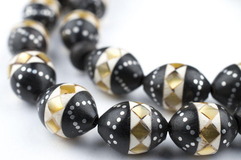 Beige Mosaic Inlaid Ebony Arabian Prayer Beads - The Bead Chest