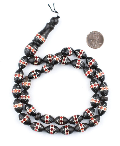 Coral Mosaic Inlaid Ebony Arabian Prayer Beads