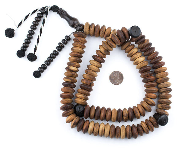 Jumbo Rondelle Olive Wood Arabian Prayer Beads (18mm)