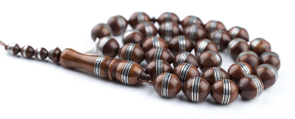 Silver Inlaid Brown Wood Arabian Prayer Beads