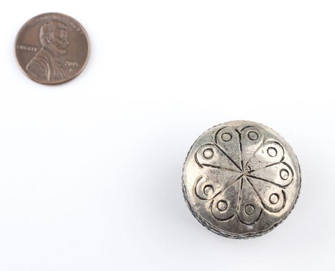 Image of Circular Silver Artisanal Berber Bead (28mm) - The Bead Chest