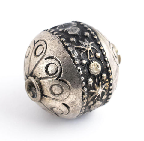Image of Round Silver Artisanal Berber Bead (22mm) - The Bead Chest